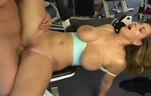 Busty girl ass fucked in a gym