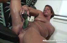 Muscled Lady Solo With Dildo