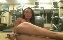 Solo girl uses a toy in the gym