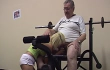 Fat mature dude fucking a sexy blonde